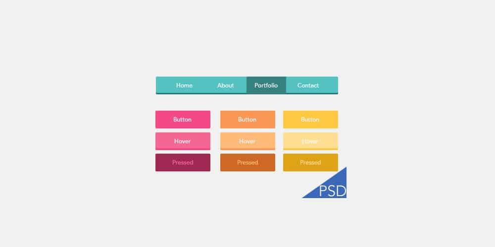 UI Flat Button PSD