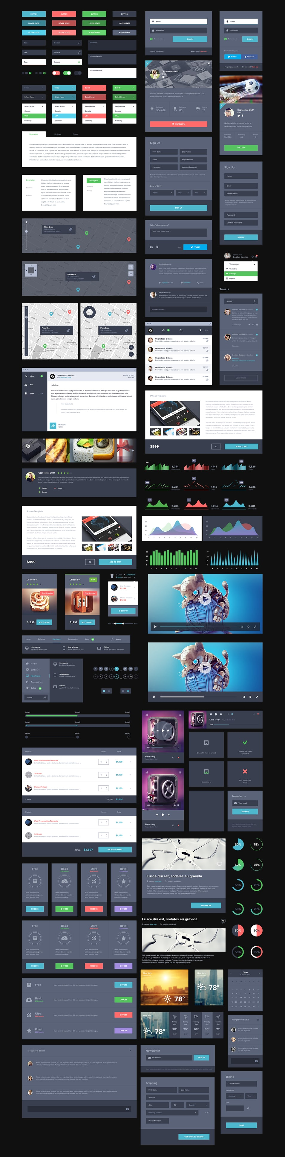 UI Kit Dark Free PSD