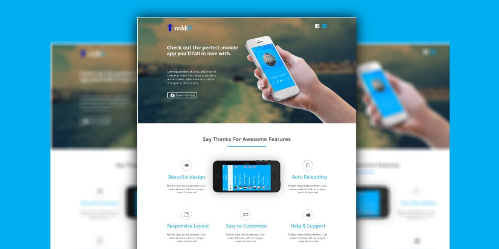iPhone App Landing Page PSD