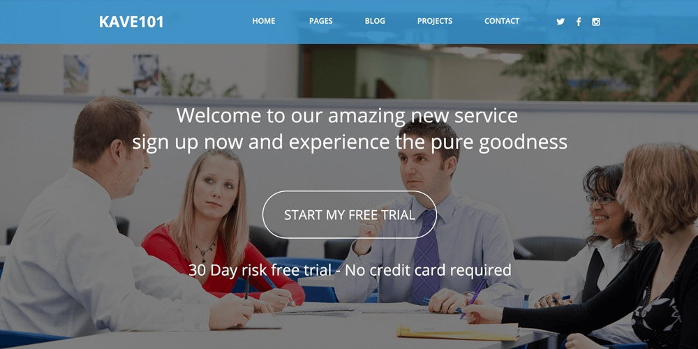 kave101 Free Landing Page Template PSD