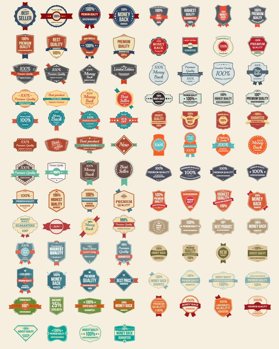 100 Free Vector Vintage Badges, Stickers