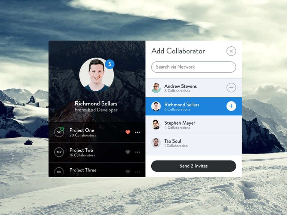 Add Collaborator Modal PSD