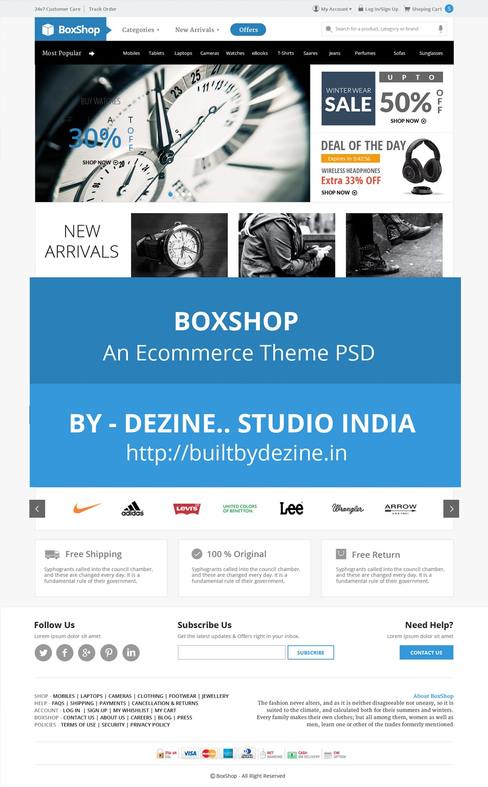 BoxShop - Free Ecommerce Website PSD Template