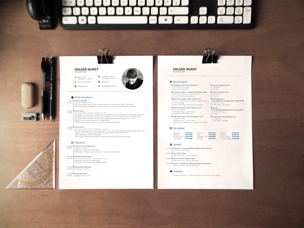 CV Mockup Simple DinA4 on desk Free psd