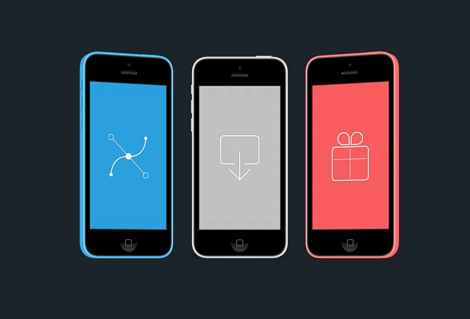 Colourful iPhone 5C mockups