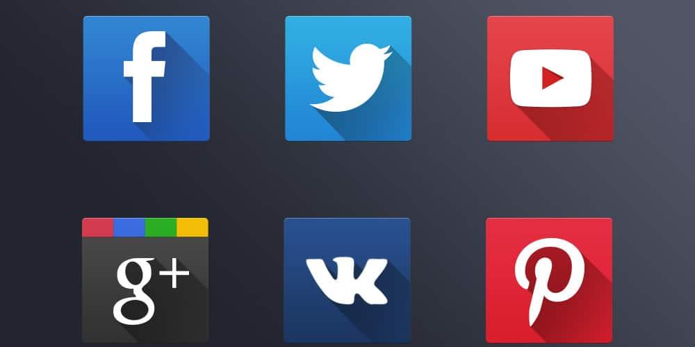 Flat Social Icons PSD