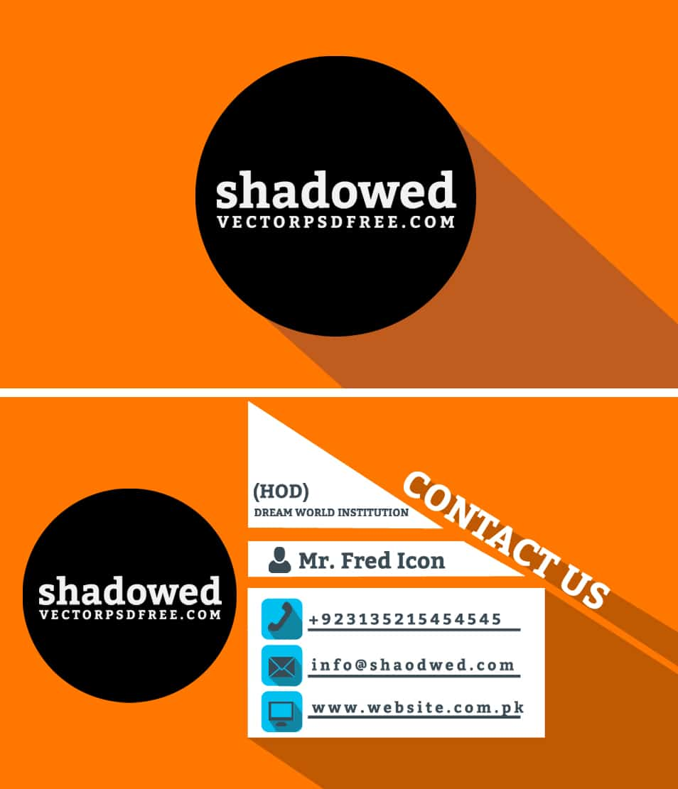 Free Long Shadow Business Card Template