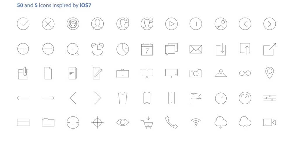 Free iOS7 Inspired Vector Icons