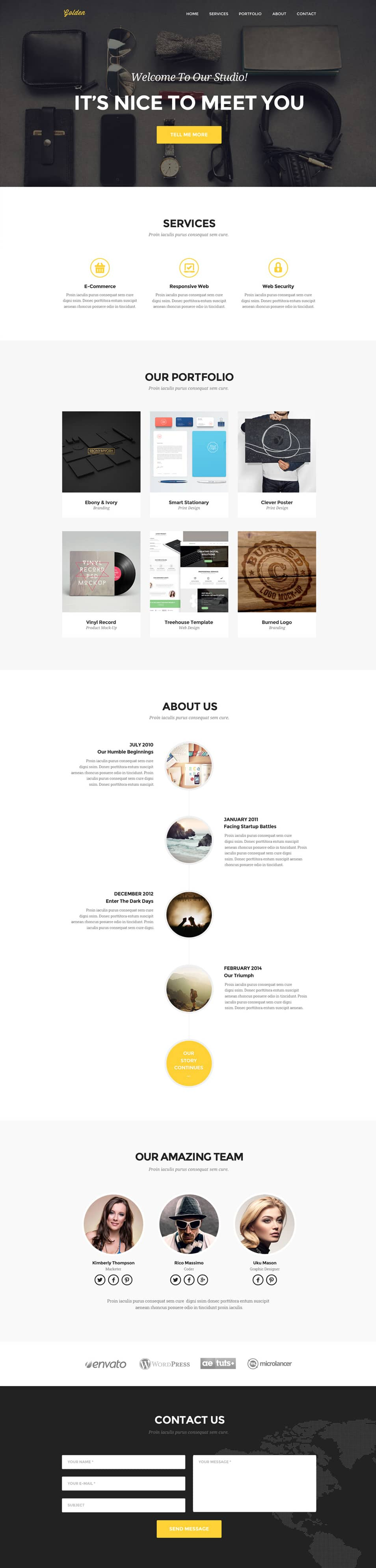 Golden – One page portfolio PSD