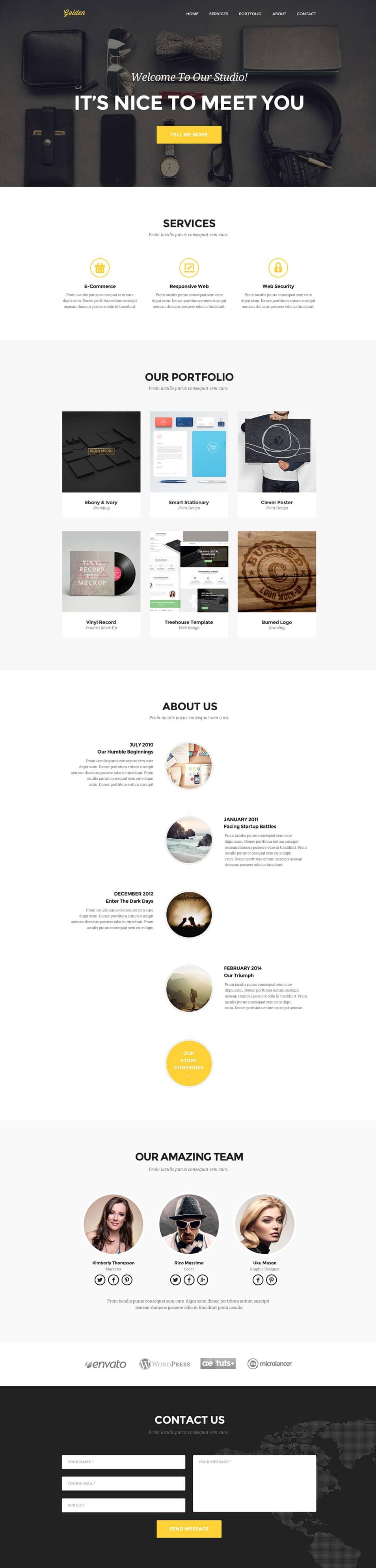 Golden – One page portfolio PSD