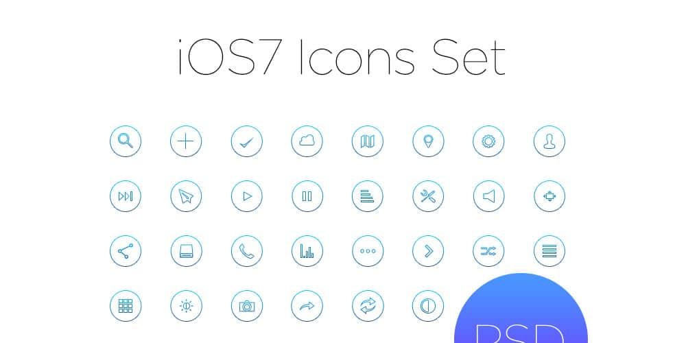Ios7 Outline Icon Set PSD