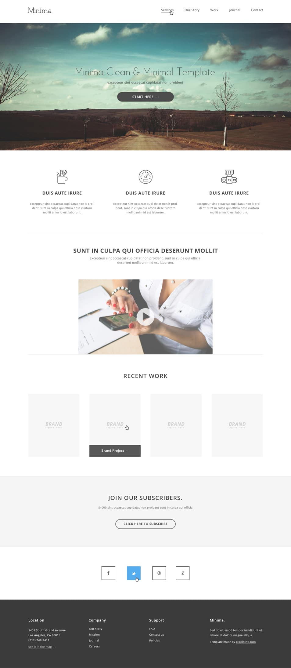 Minima PSD Website Template