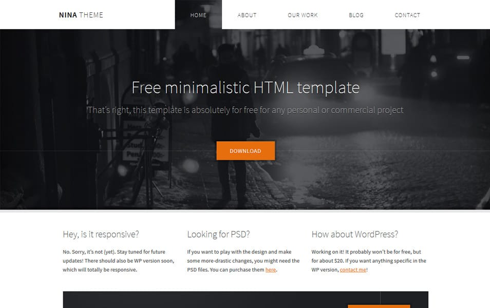 500 best free responsive html5 css3 website templates nina html5 theme pronofoot35fo Choice Image