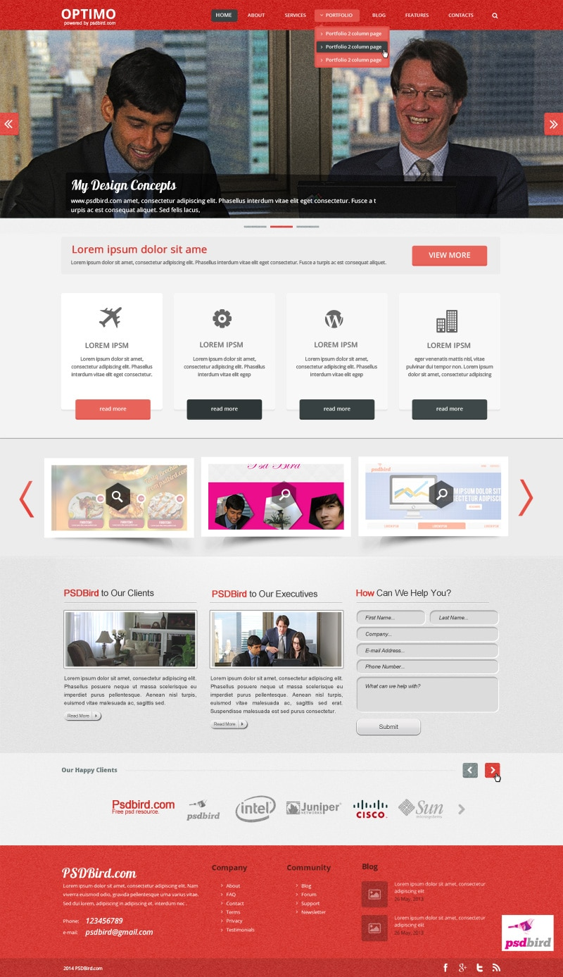Optimo – Free Responsive Web Template PSD