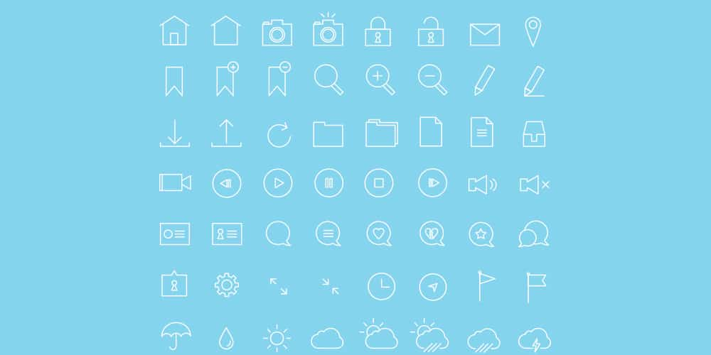 Thin Stroke Icon Set