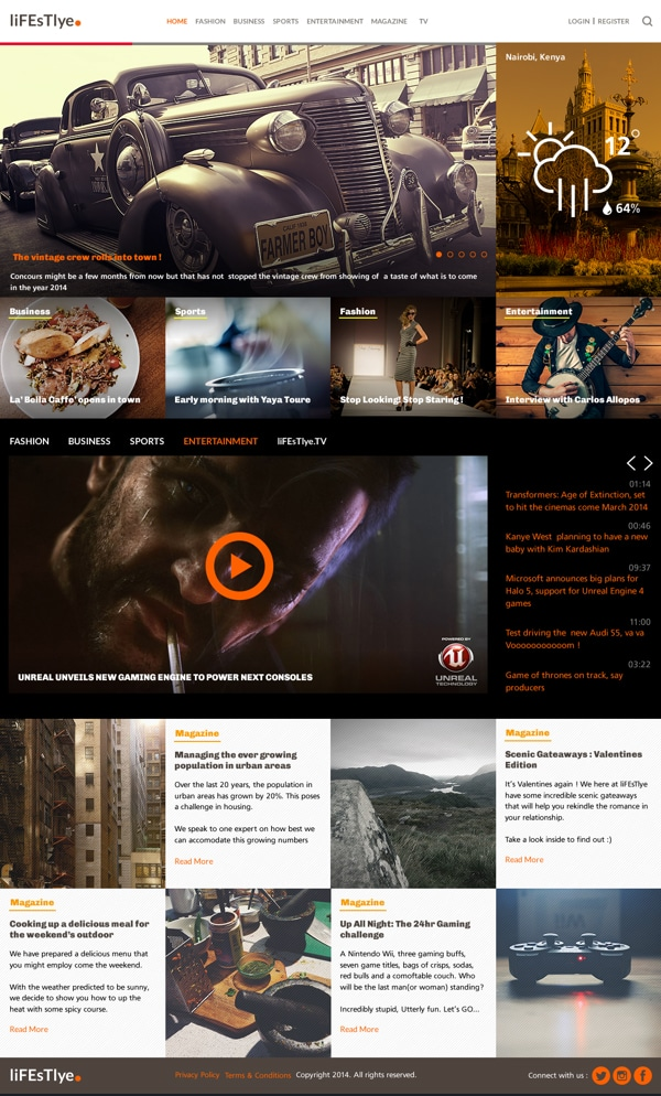 liFEsTlye - Free PSD Magazine Website Template