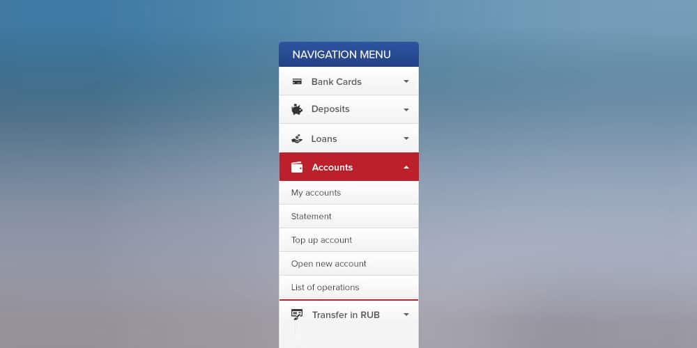 Bank Accordion Menu
