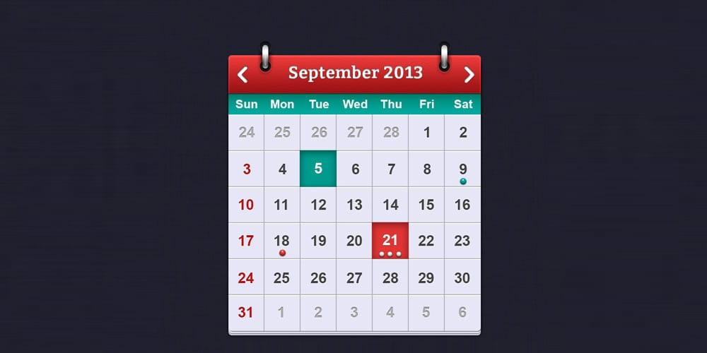Calendar Interface Design PSD