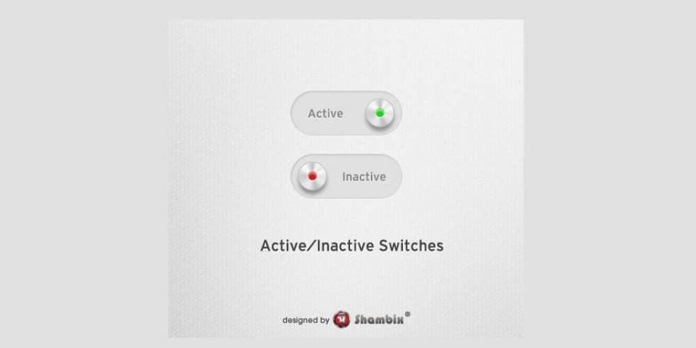 Clean Active and Inactive Toggle Switches PSD