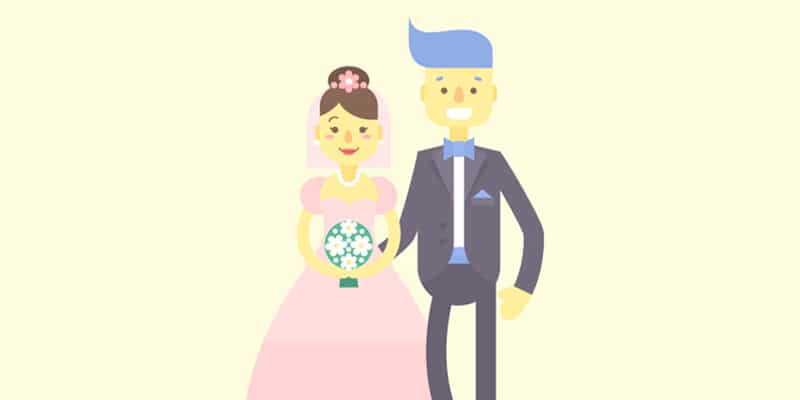 Flat Bride and Groom Characters