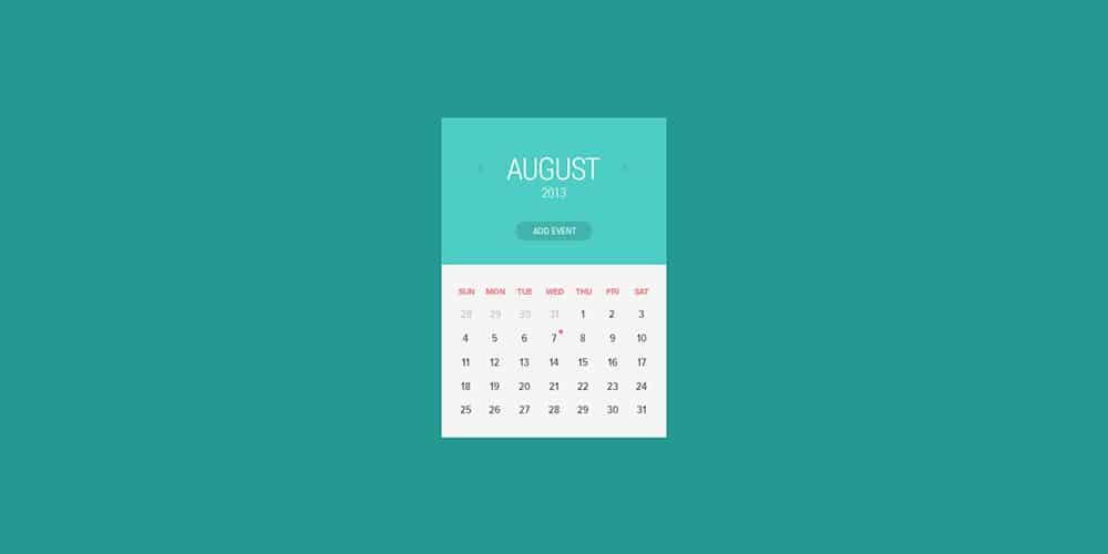 Flat Calendar Widget PSD