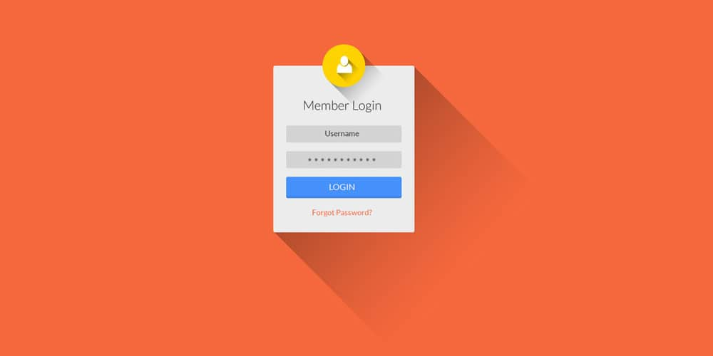 Flat Long Shadow Login and Register UI PSD