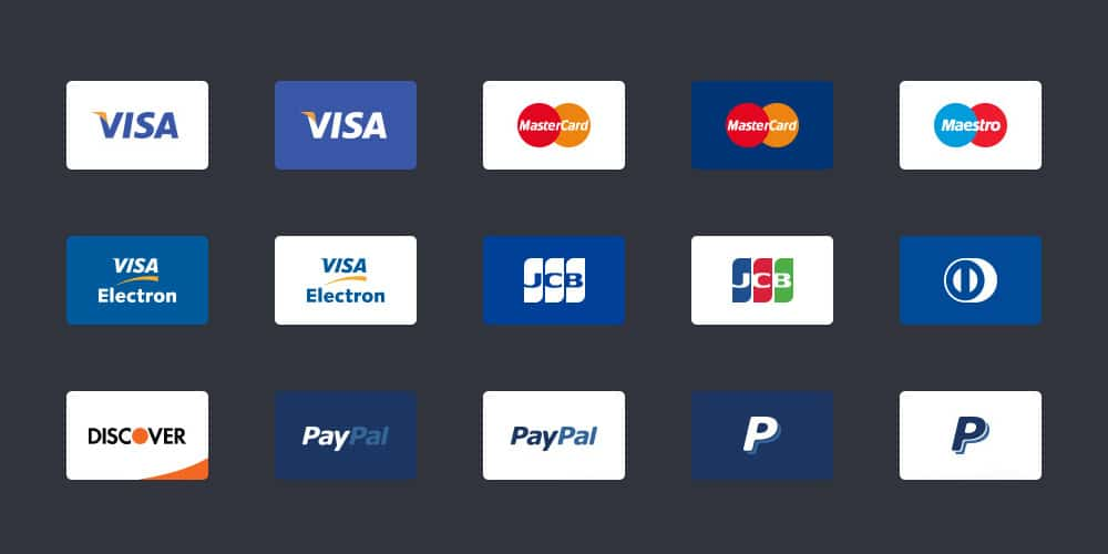 Free Payment Method and Credit Card Icons for eCommerce Website