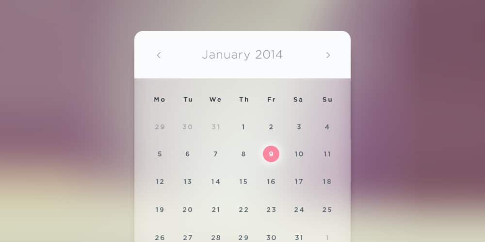 Glass Calendar PSD