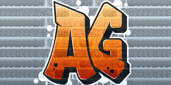 Graffiti Logo on Brick Wall with Texture