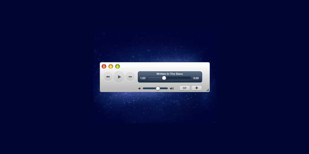 Modern White Media Player PSD