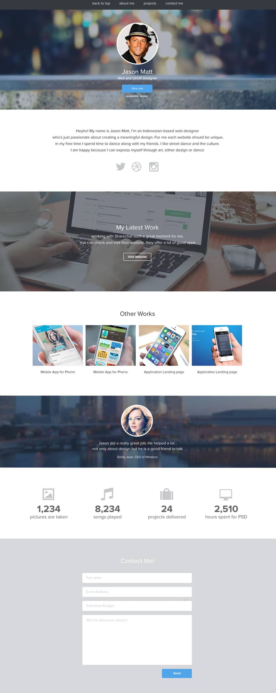 Portfolio Website Template PSD