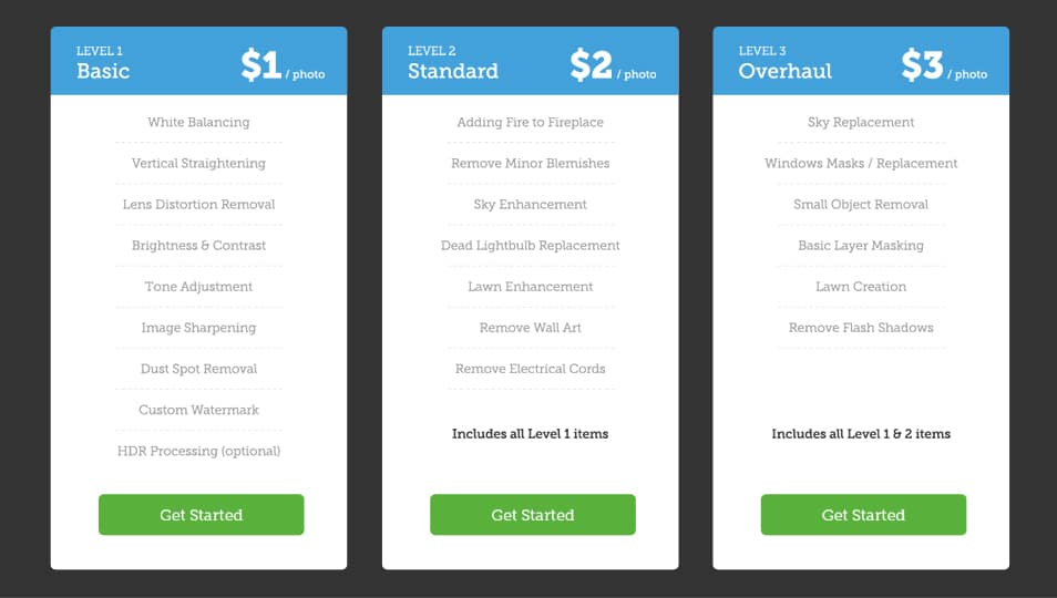 Price Table PSD