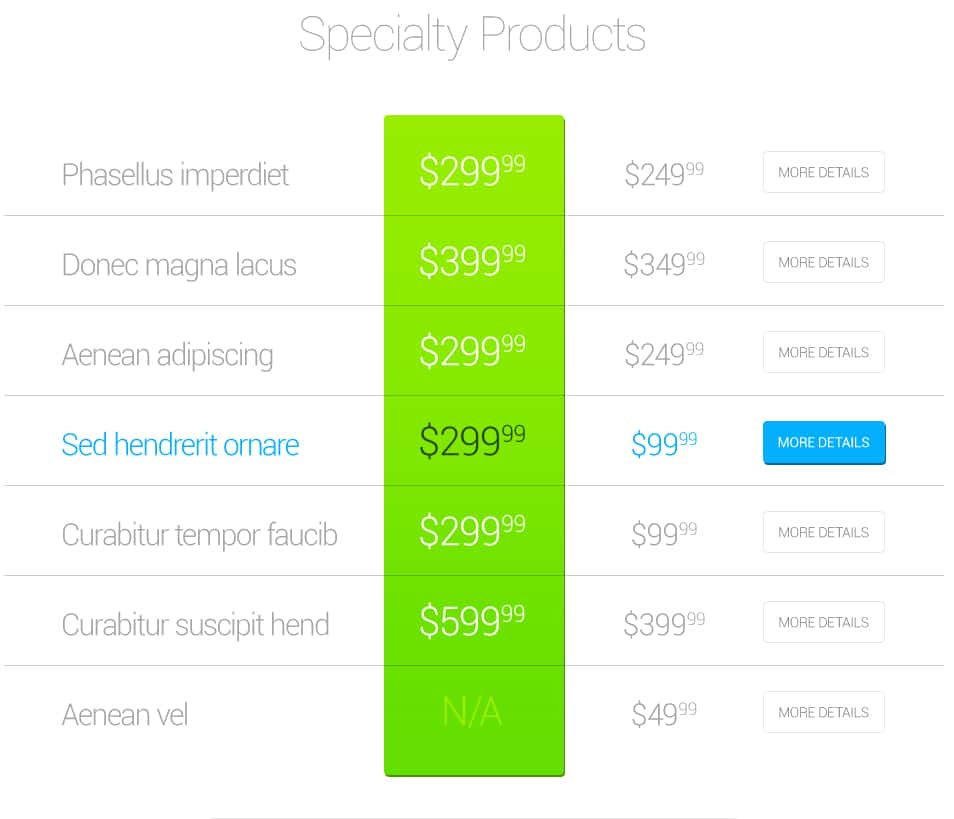 Product Pricing PSD