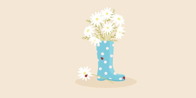 Rain Boot With Daisies