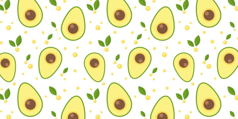 Seamless Pattern with Fresh Avocado