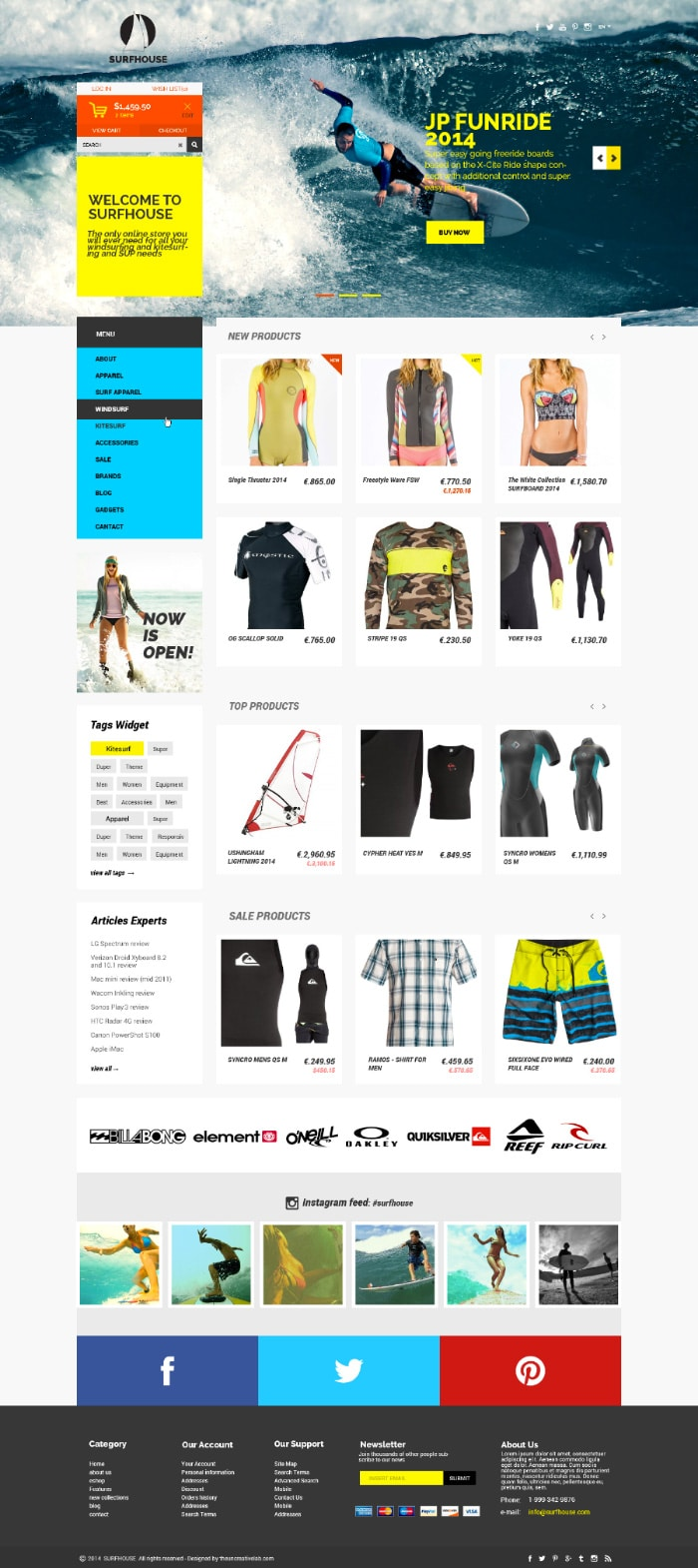 Surfhouse - Free PSD eCommerce Template