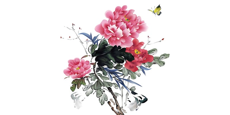 Traditional Chinese Bird and Flower