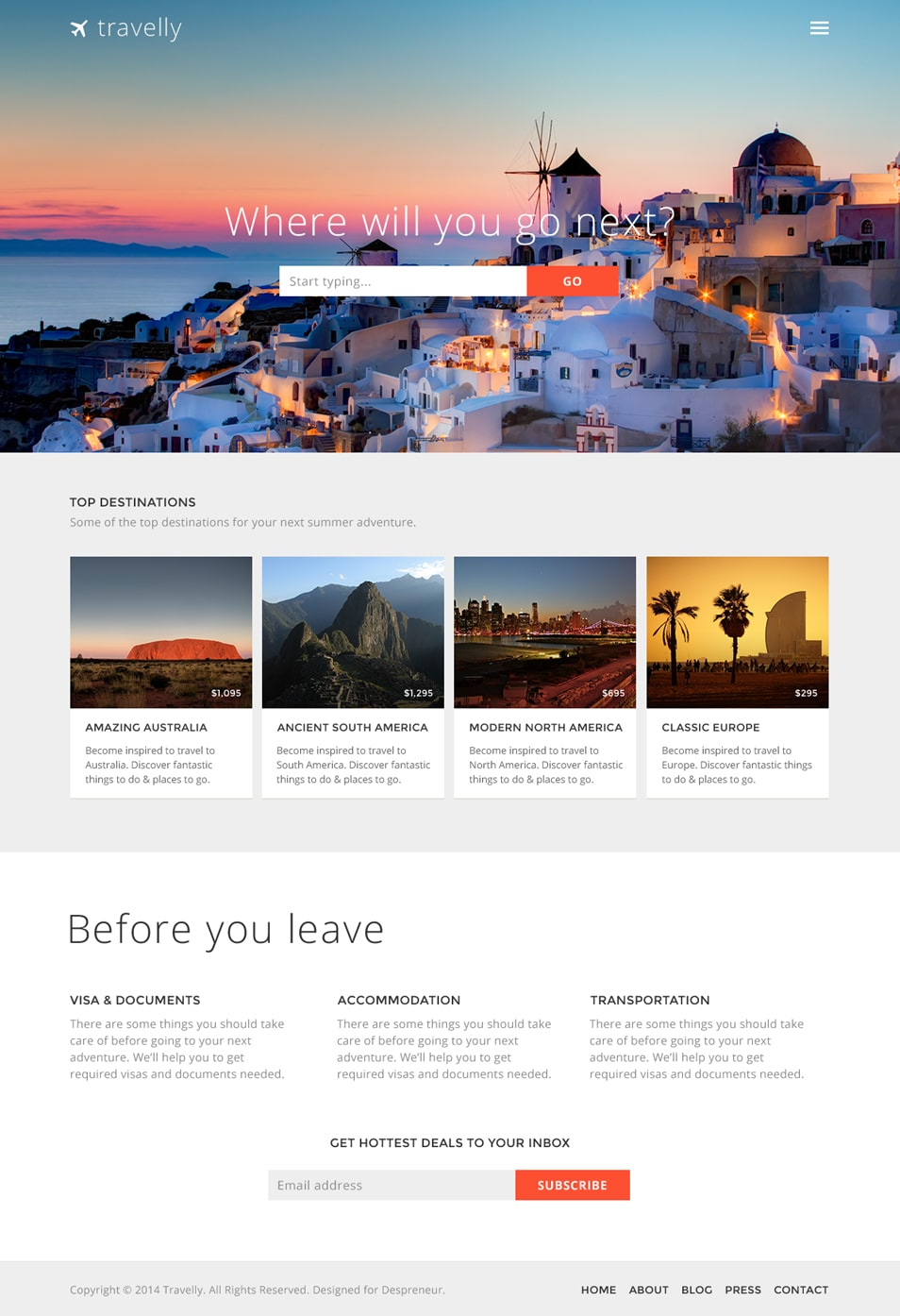 Travelly – Free Travel Website PSD Template