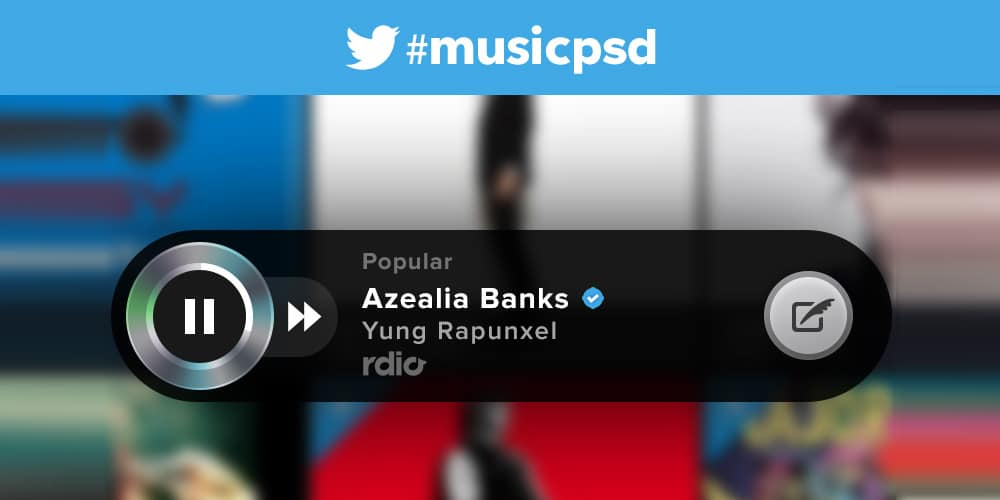 Twitter Music Player PSD