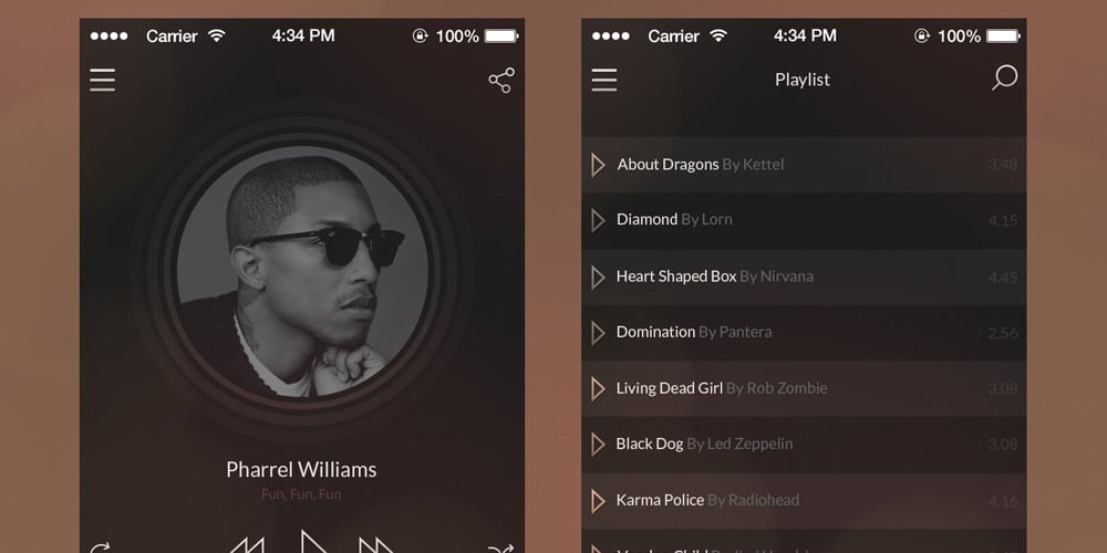 iOS7 Vintage Music Player