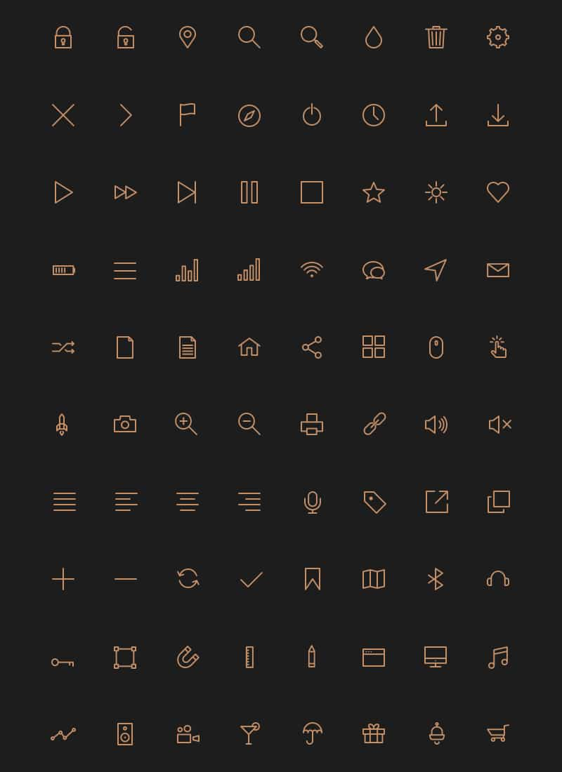 80 Stroke Icons Font