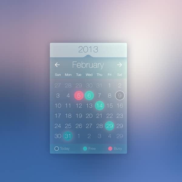 Calendar Web Widget : Web widget designs psd css author