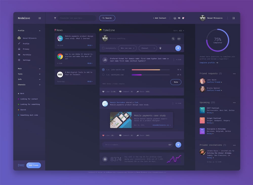 Dashboard UI Design PSD