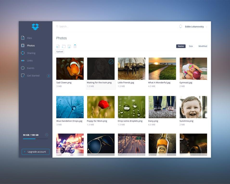 Dropbox UI PSD