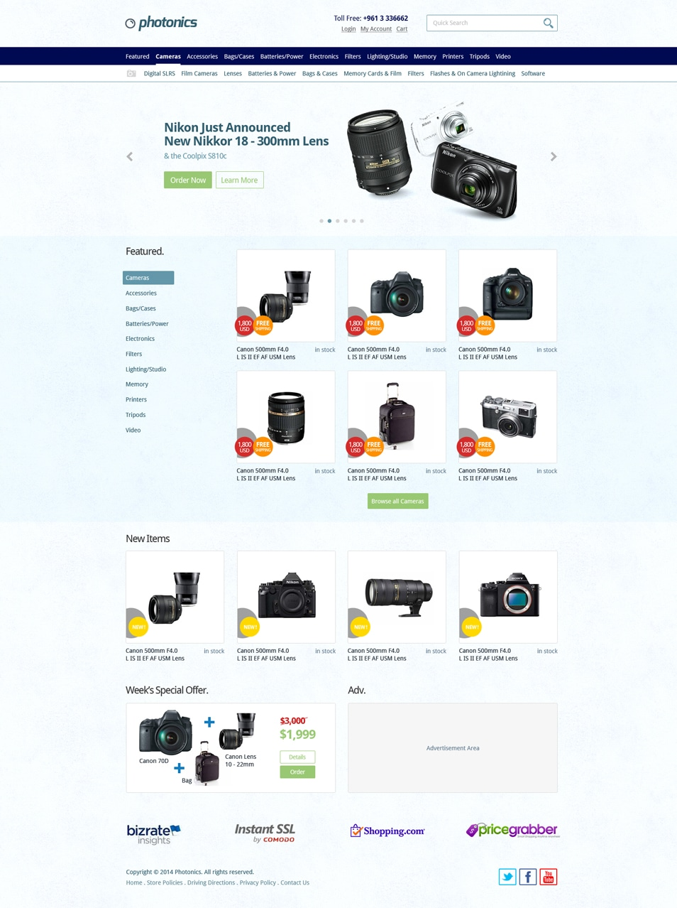 E-commerce Camera Store Website Template