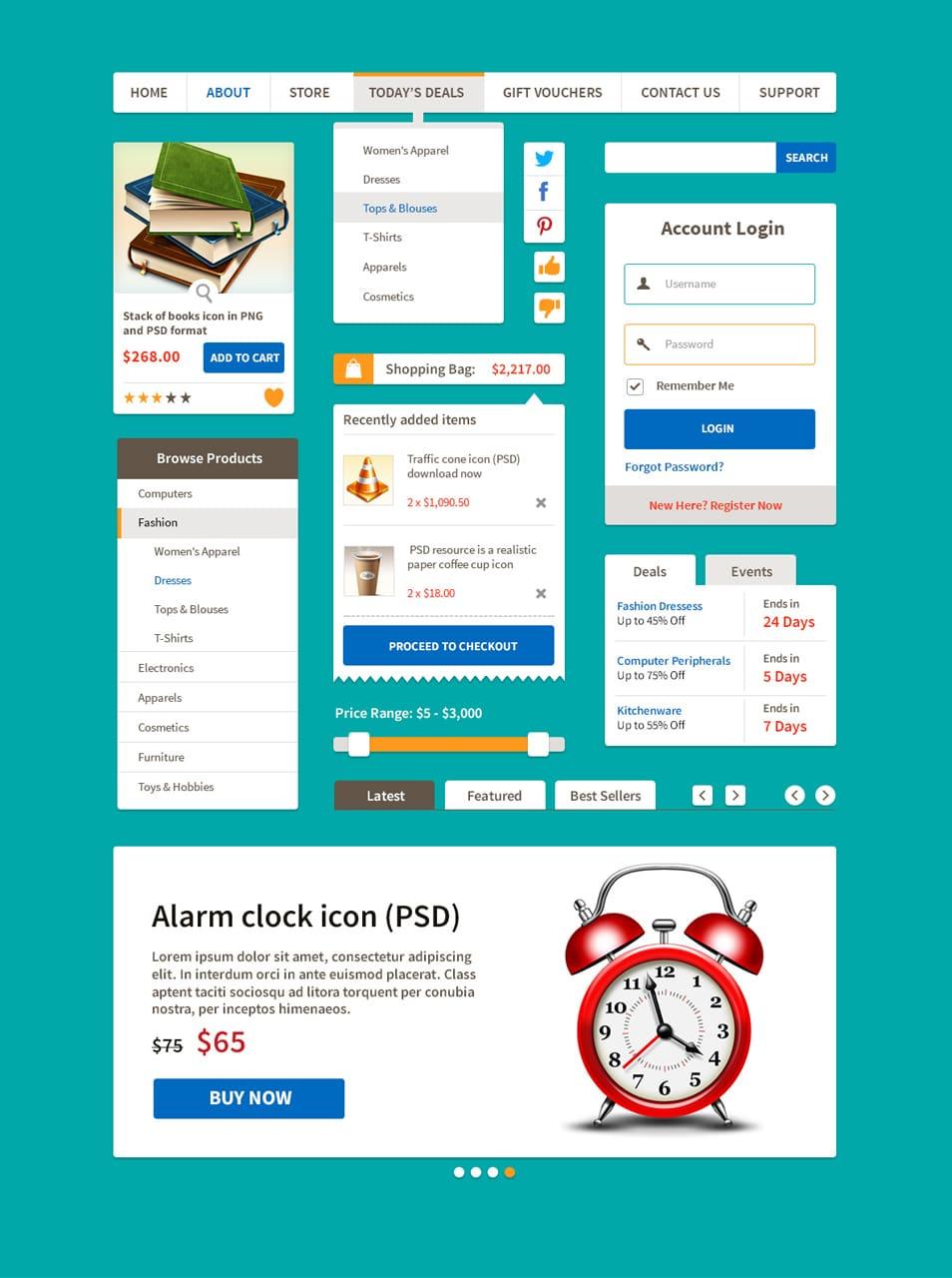 Ecommerce Flat UI Kit PSD