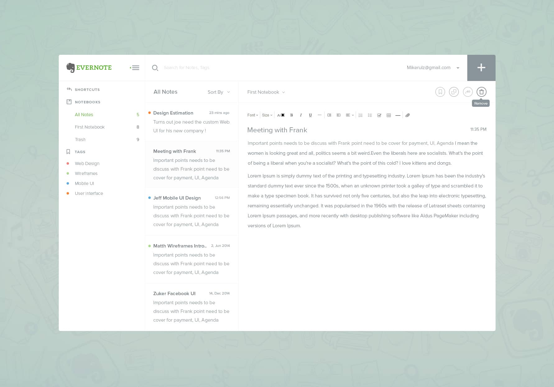 Evernote Dashboard PSD