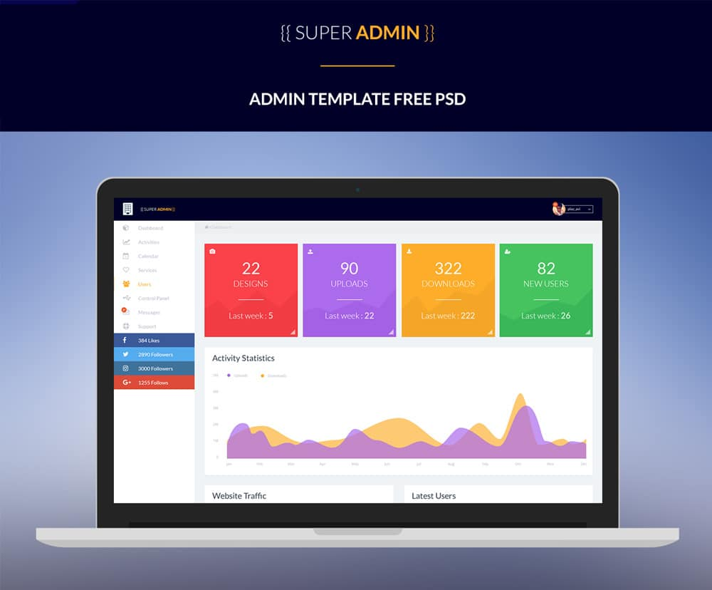 Free dashboard ui design psd css author for Free admin template