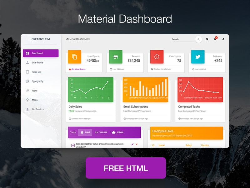Free Bootstrap Material Admin Dashboard