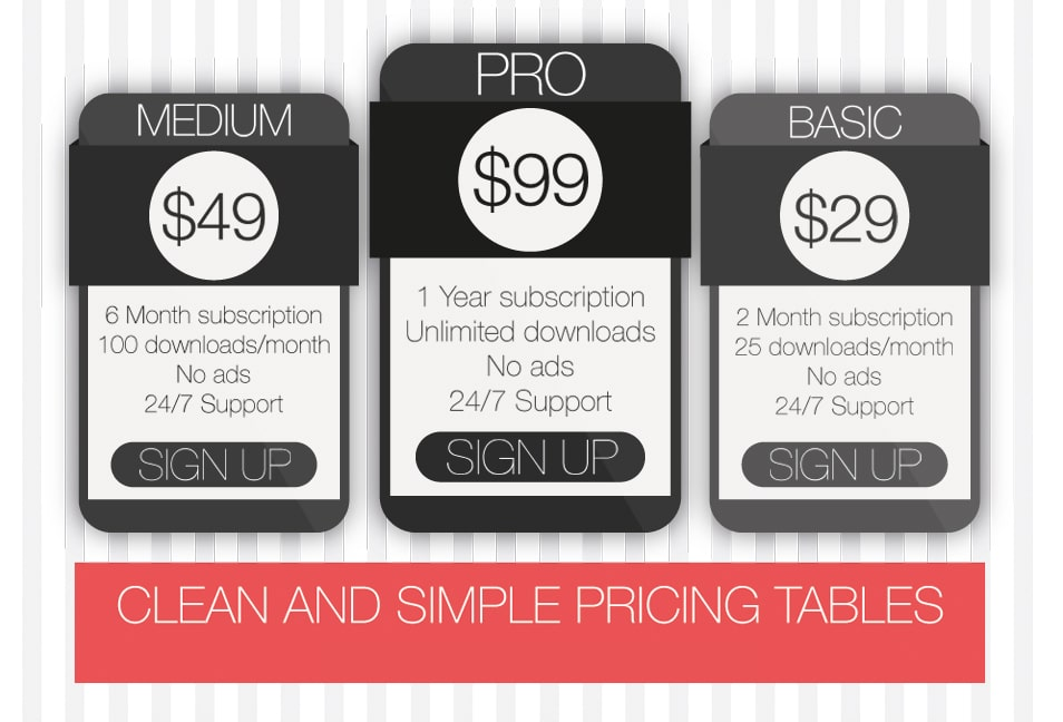 Free Clean and Simple Pricing Tables PSD